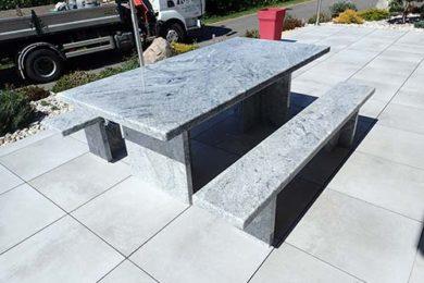 table de jardin et bancs extérieur granit Wiskont white